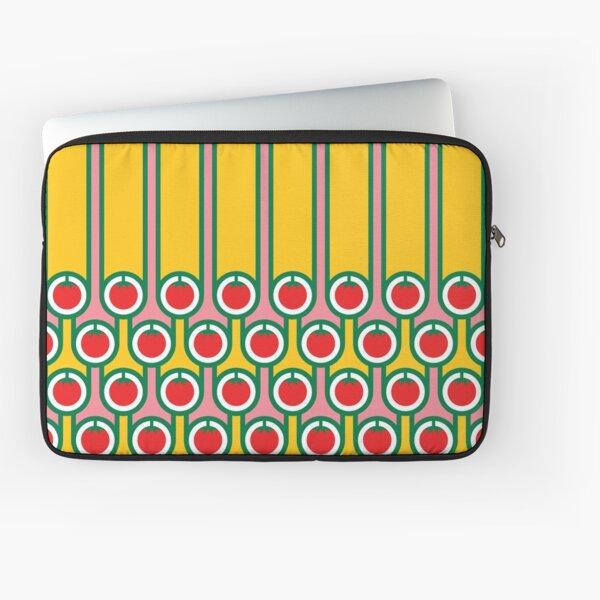 Scandi Midcentury Modern Retro Geometric Eggs Tomatoes Stripey Pattern Laptop Sleeve