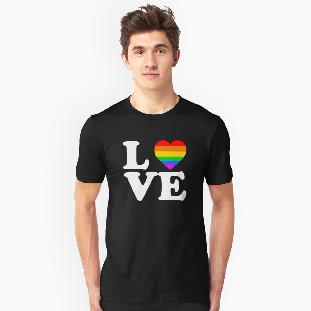 Rainbow Gay Equality Love Apparel Unisex T-Shirt Front