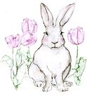 Easter Bunny and Tulips by Kendra Shedenhelm