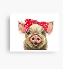 Pig with Bandana art, Cute pig art Metal Print