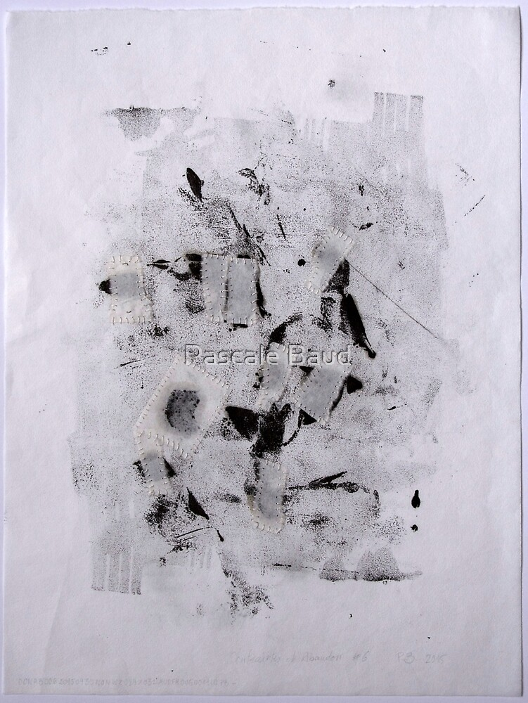 Contraintes et Abandon #6 - Monotype on Wenzhou Paper + pieces of paper sewn by Pascale Baud