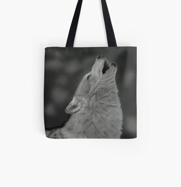 Lone Wolf Digital Painting All Over Print Tote Bag