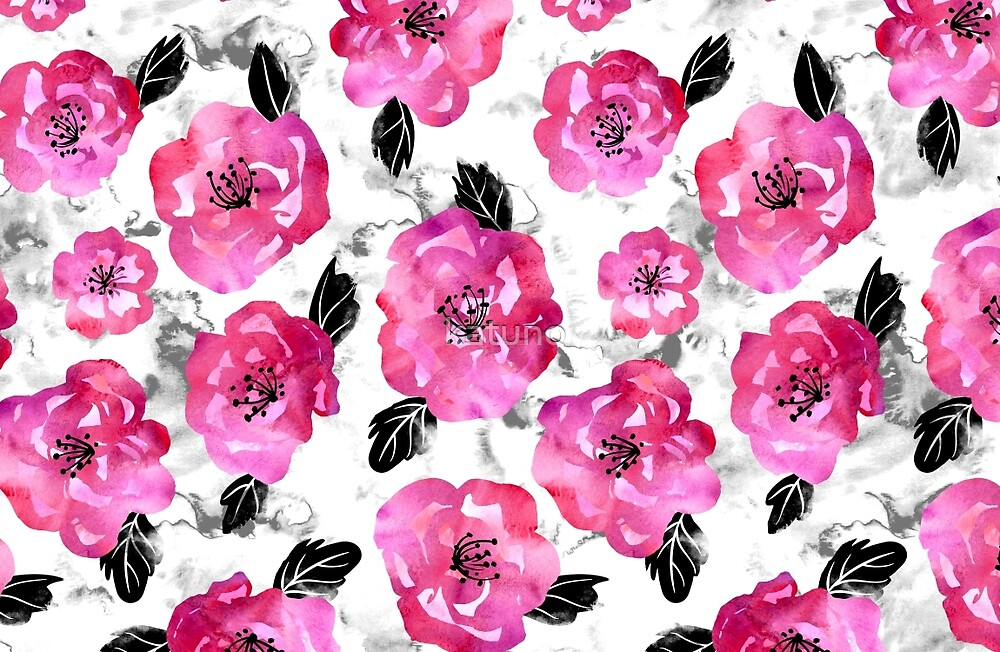 Pink Painterly Floral by katuno