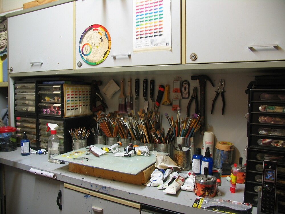MY STUDIO WORKBENCH by JOHN COCORIS