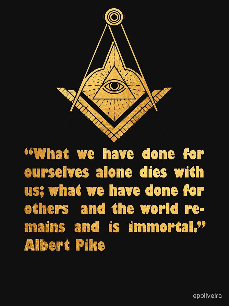 Freemason Philanthropy quote Gold Masonic symbol All seeing eye by epoliveira