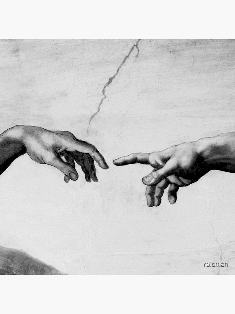 the creation of adam sistine chapel near touching hands of god and adam red colorized tote bag by raidman redbubble
