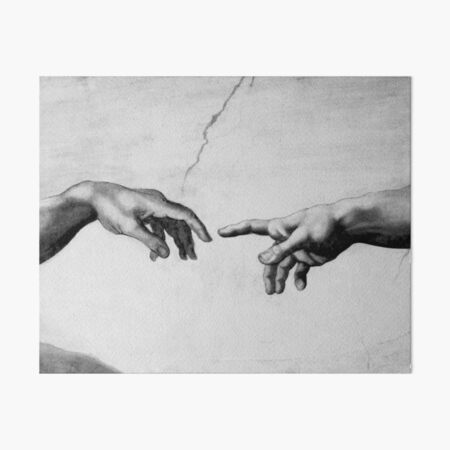 The Creation of Adam - Sistine Chapel near-touching hands of God and Adam Red Colorized Art Board Print