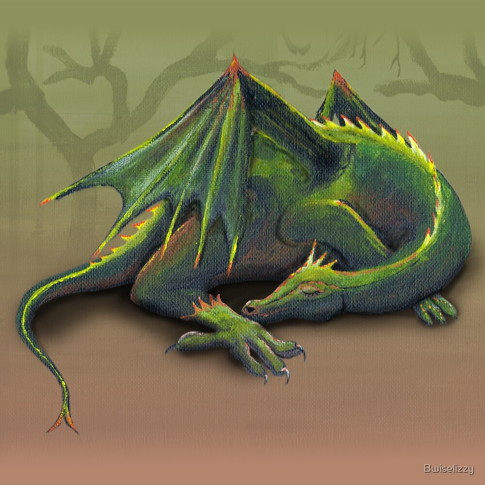 Sleeping green dragon by Bwiselizzy