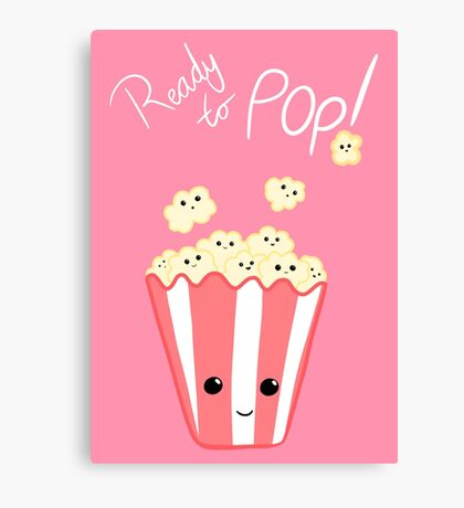 Funny Expecting card - Ready to Pop - Funny Pregnant - Pregnancy - Baby Shower - Gift - Popcorn Pun - Funny expectant mom mum Canvas Print