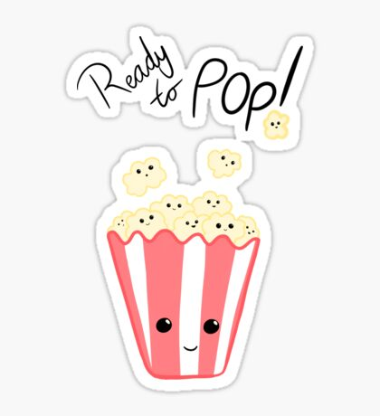 Funny Expecting card - Ready to Pop - Funny Pregnant - Pregnancy - Baby Shower - Gift - Popcorn Pun - Funny expectant mom mum Sticker