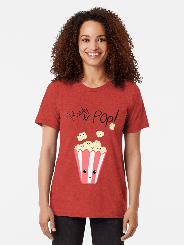 Alternate view of Funny Expecting card - Ready to Pop - Funny Pregnant - Pregnancy - Baby Shower - Gift - Popcorn Pun - Funny expectant mom mum Tri-blend T-Shirt