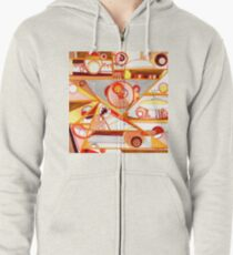 Economies of Scale, Ink drawing Zipped Hoodie
