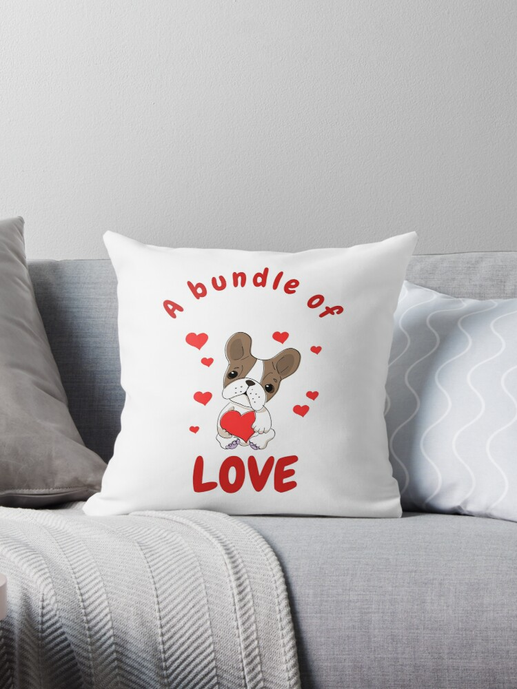 'A bundle of Joy- Boston Terrier - Dog Mom and Dad T-Shirt Quotes Meme'  Throw Pillow by tengamerx