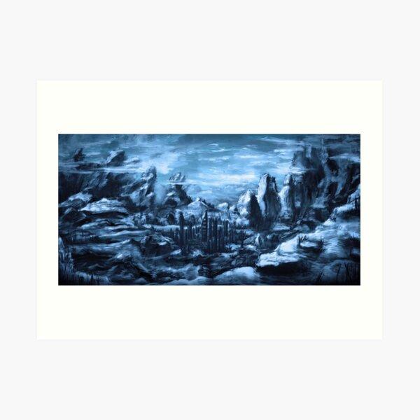 Blaue Berglandschaft Art Print