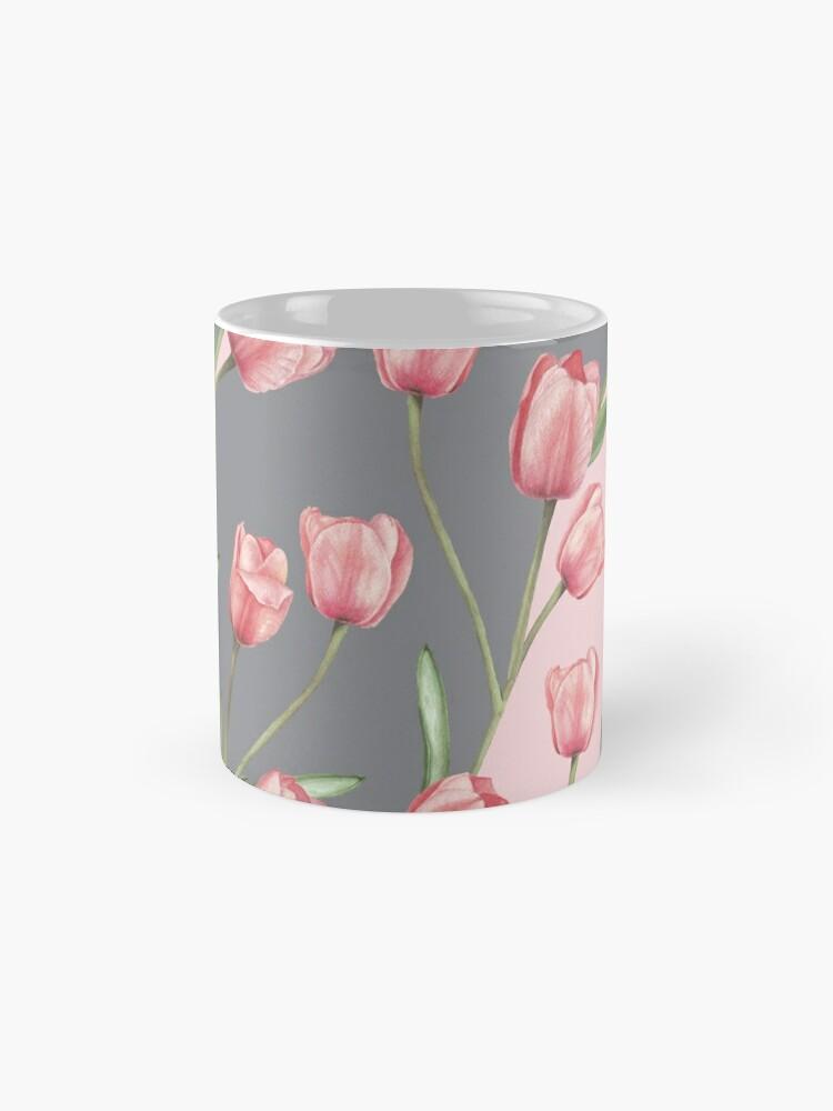 Vista alternativa de Taza Patrón lindo con tulipanes y hojas, variación acuarela 4