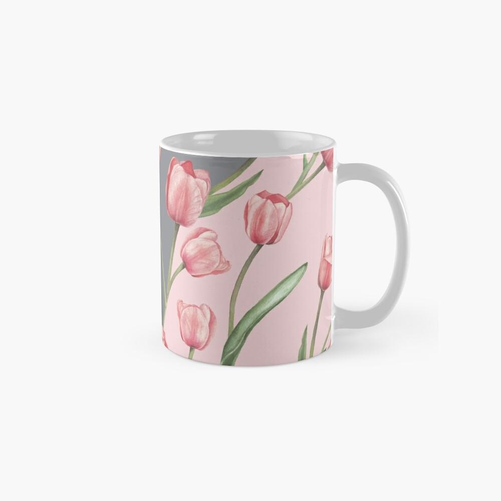 Patrón lindo con tulipanes y hojas, variación acuarela 4 Taza