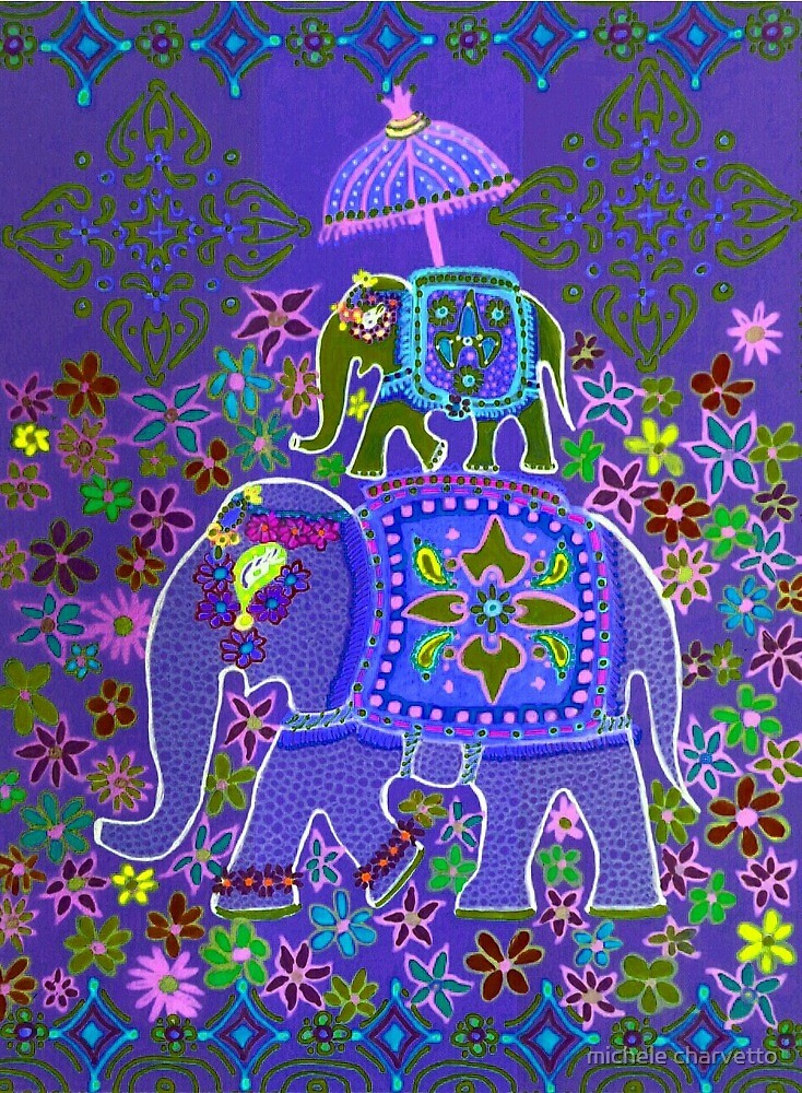 Elephant Parade (purple) by michele charvetto