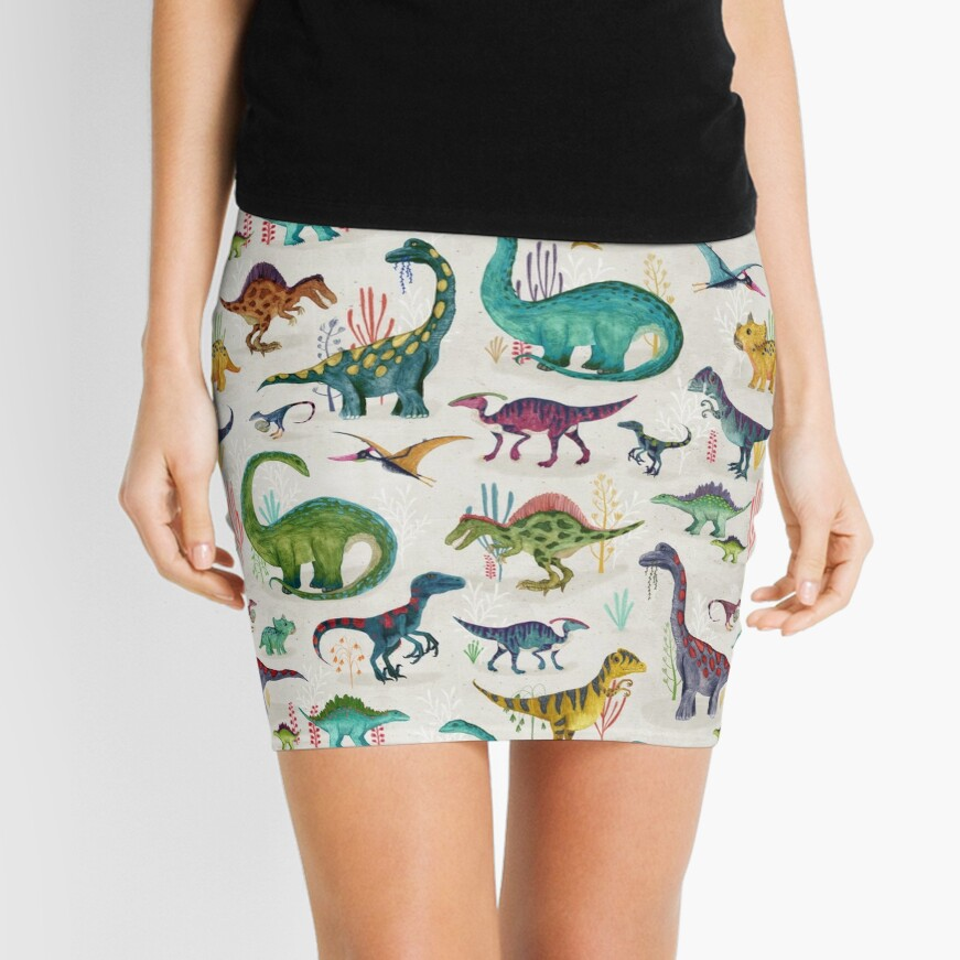 Bright Dinosaurs Mini Skirt