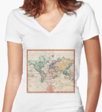 Weinlese-Weltkarte 1801 Shirt mit V-Ausschnitt