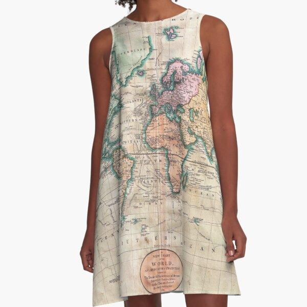Vintage World Map 1801 A-Line Dress