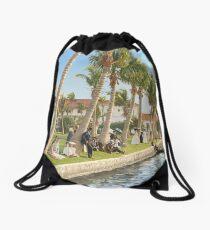 Watching the boat races, Palm Beach, Florida 1906 Drawstring Bag