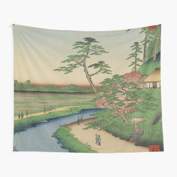 Spring Trees on Aqueduct Ukiyo-e Japanese Art Tapestry