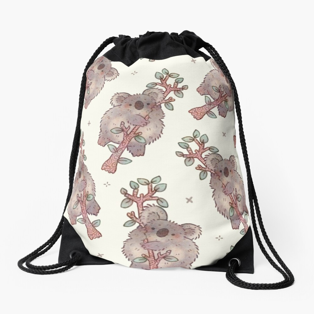 Chubby Koala on a Tree - Australian Wildlife Drawstring Bag