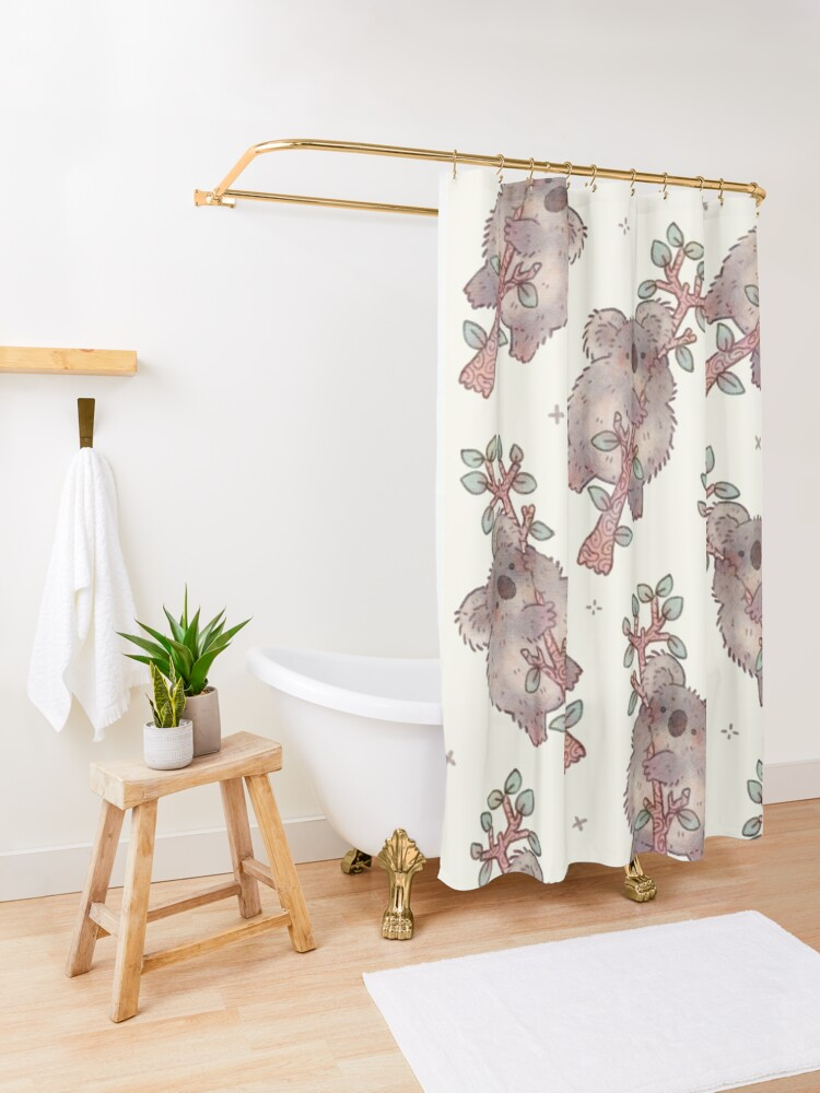 Alternate view of Chubby Koala on a Tree - Australian Wildlife Shower Curtain