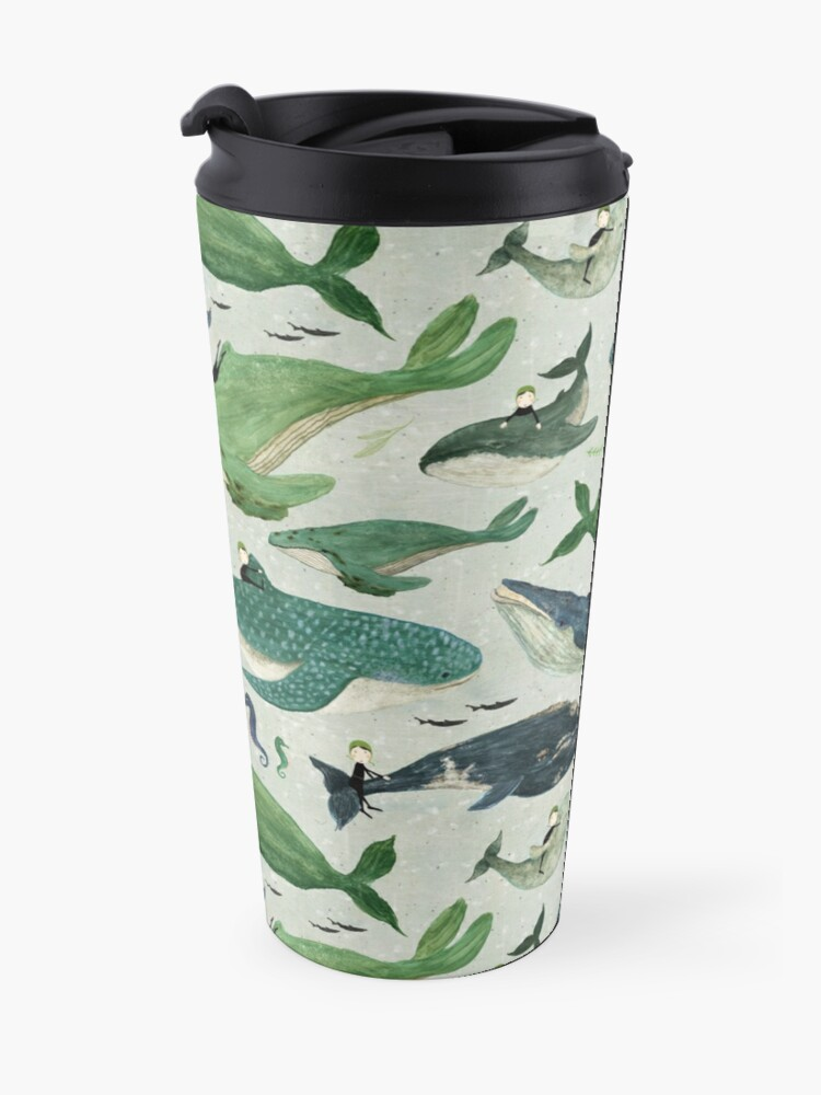 Alternate view of Whale rider {green and purple} Travel Mug