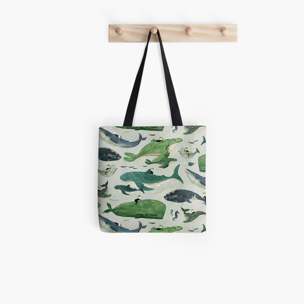 Whale rider {green and purple} Tote Bag