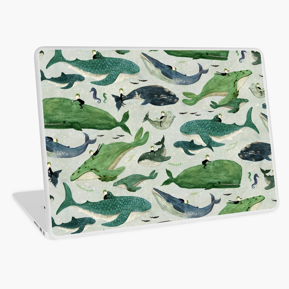Whale rider {green and purple} Laptop Skin