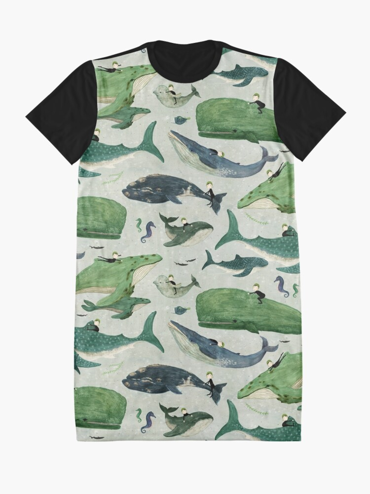 Alternate view of Whale rider {green and purple} Graphic T-Shirt Dress