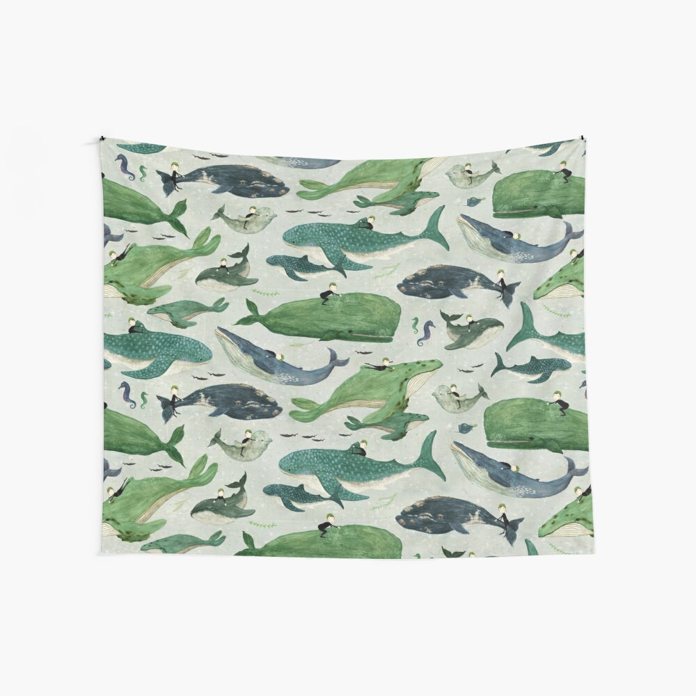 Whale rider {green and purple} Wall Tapestry