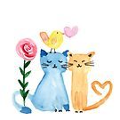 Watercolor - lovely cats by grafart
