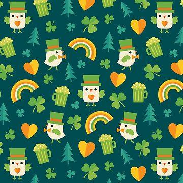 Leprechaun Birdies on Dark Green by daisy-beatrice