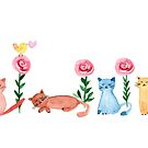 Watercolor - lovely cats and roses by grafart