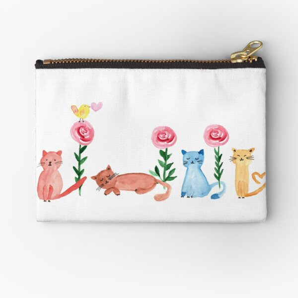 Watercolor - lovely cats and roses Zipper Pouch