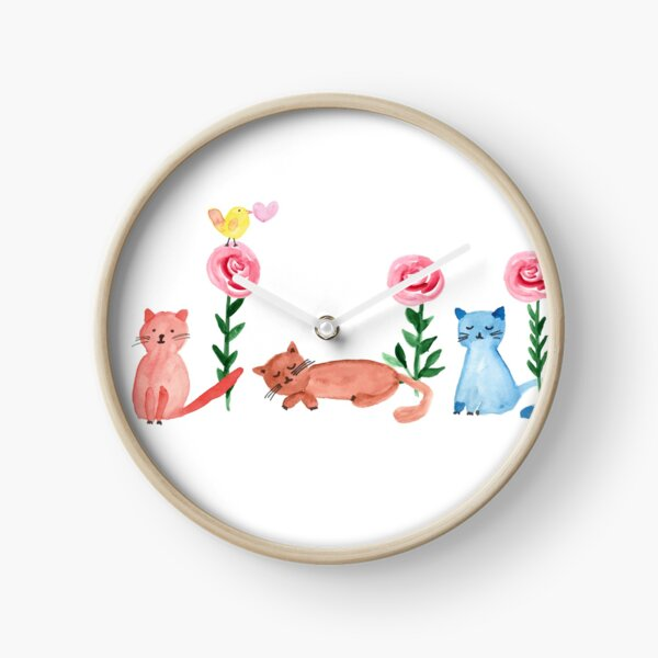 Watercolor - lovely cats and roses Clock