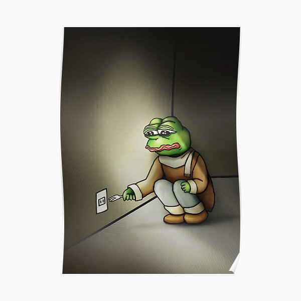 Pepe The Frog meme CYNICAL sarcastic Sad and dramatic RARE PepeTheFrog with fork #FreeKekistan 3D effect on dark brown black background SUPER HD HIGH QUALITY Poster