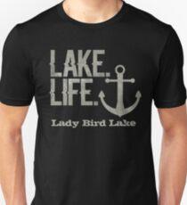 Lady Bird Lake Texas Lake Life Nautical Themed with Anchor Slim Fit T-Shirt