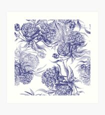 Grisaille Watercolor Peony Art Print