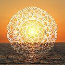 Fiery Orange Sunset Mandala  by julieerindesign