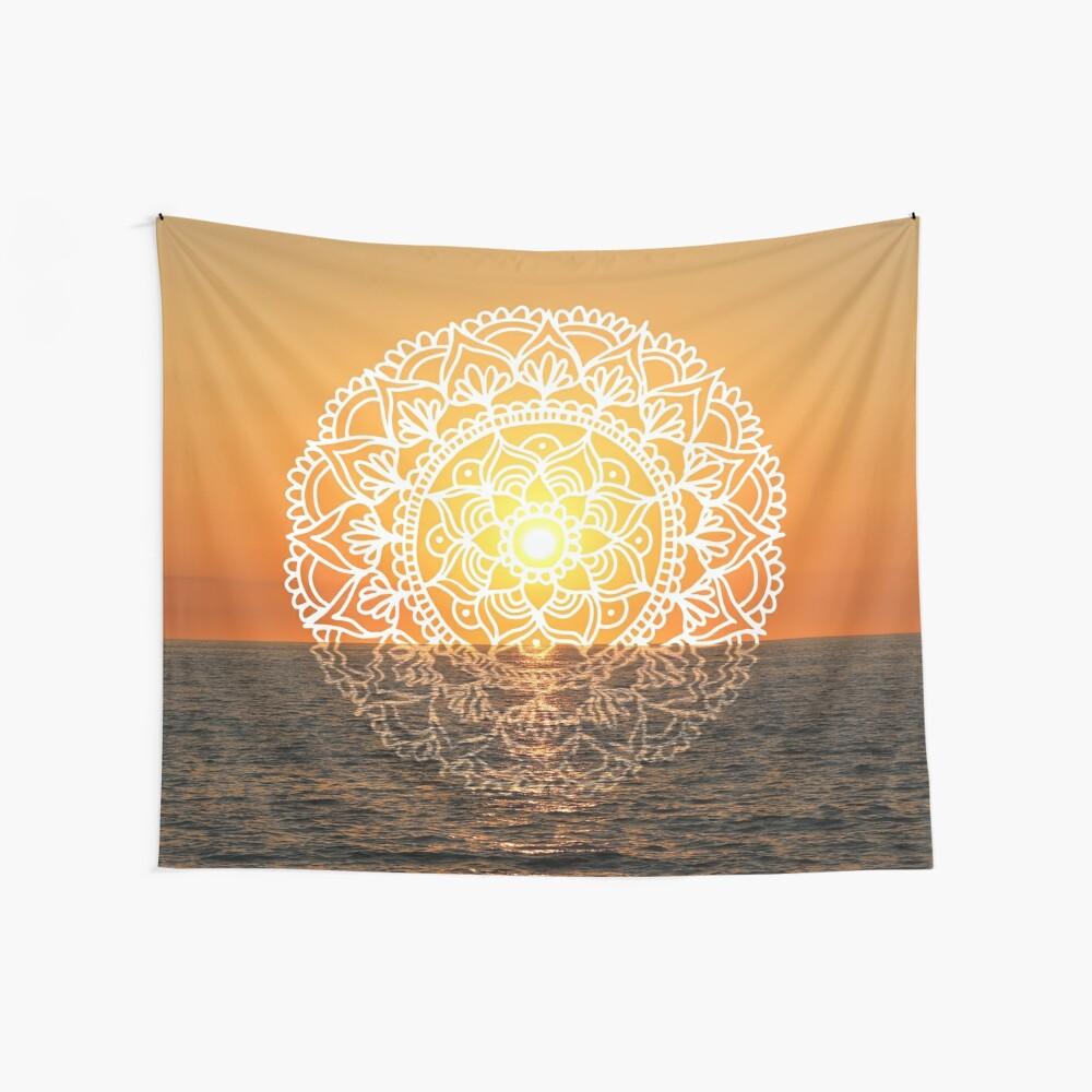 Fiery Orange Sunset Mandala  Wall Tapestry