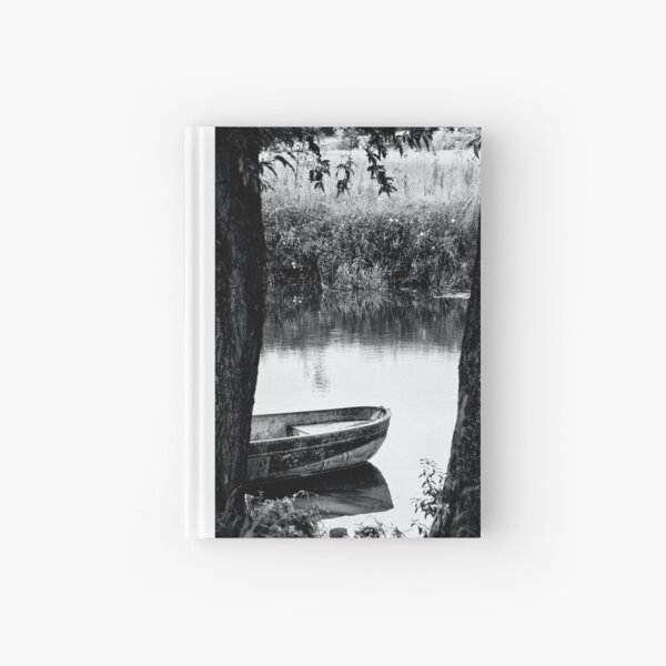 boat bw Hardcover Journal