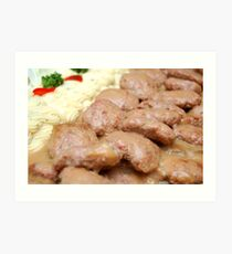 burger steak with mashed potato Art Print