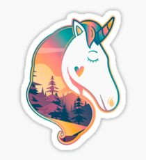 Unicorn Head | Sunrise Over Trees Sticker