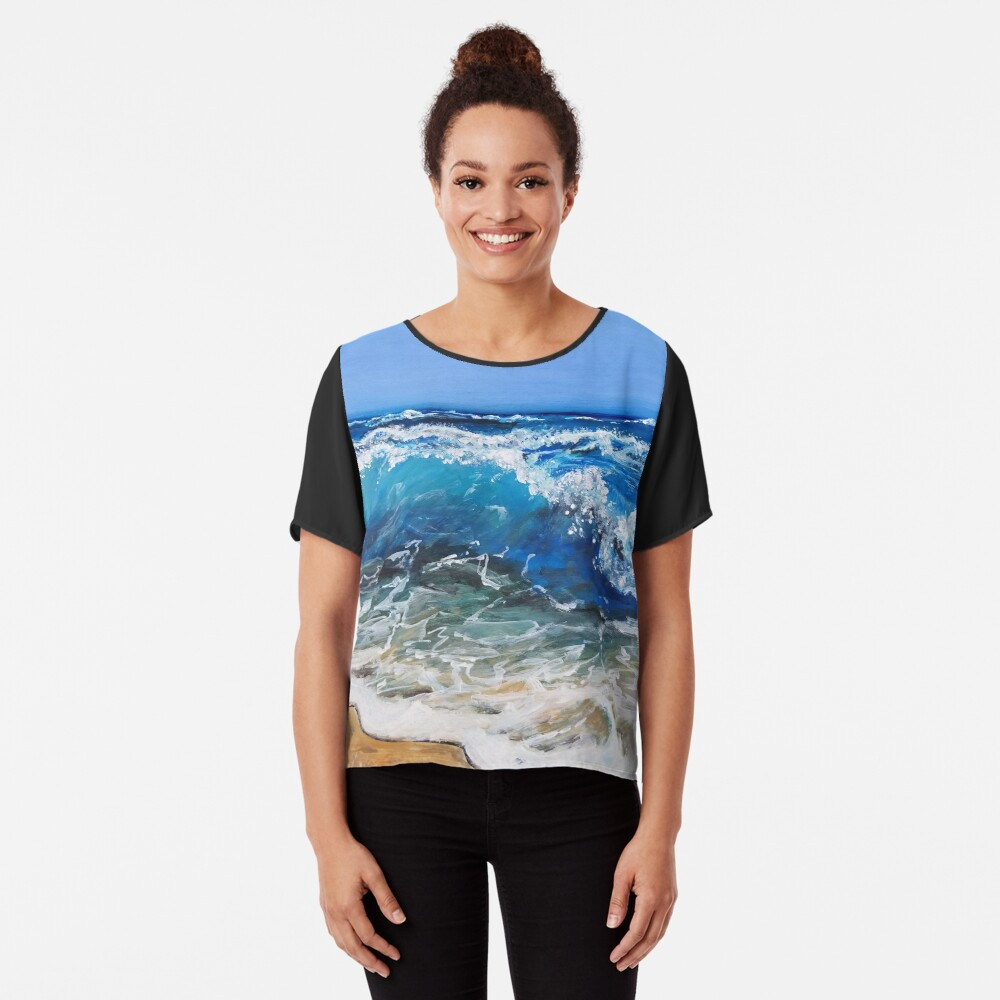 Rough Sea Painting Chiffon Top
