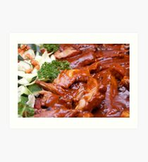 Pork with sauce and some vegetables like cucumber, tomato, etc.  Art Print