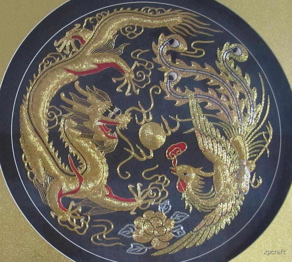 Chinese dragon and phoenix hand embroidery painting by xpcraft