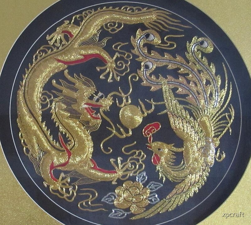 Quot Chinese Dragon And Phoenix Hand Embroidery Painting Quot By